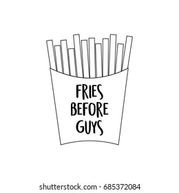 Black outline of french fries in paper box. Transparent fries vector illustration, cartoon graphic icon with writing Fries before guys, isolated on white background.