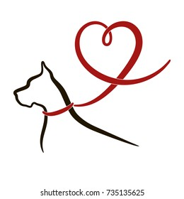 Black outline of great dane dog with red lead (ribbon) in shape of heart. Line drawing isolated on white background. Vector illustration, logo, icon