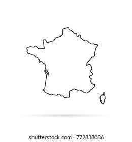 black outline hand drawn map of france. simple flat stroke trend modern logotype graphic line art design on white background. concept of french country contour borders like infographics element