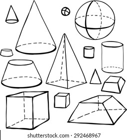 Black outline hand drawn vector cube, pyramid, cylinder, sphere, cone set. Cute doodle modern school education geometric isolated elements