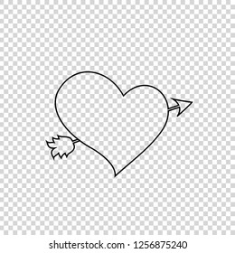 Black outline heart pierced with arrow sketch illustration. Element of wedding icon for mobile and web apps. Sketchy style. Lovestruck symbol or arrow through heart vector sign, valentine clip art