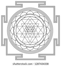 black outline hinduism Sri yantra.  sri yantra. Hinduism chart