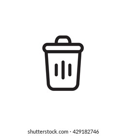 Black Outline icon of  waste and recycle on white background
