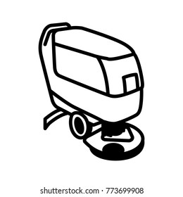 Black outline illustration of compact automatic floor scrubber machine isolated on white background. Vector icon