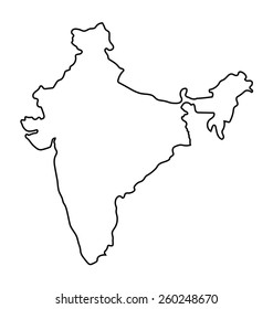 Outline Of India Map India Map Outline Images, Stock Photos & Vectors | Shutterstock