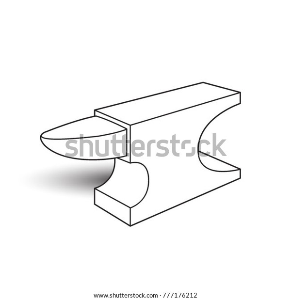Black Outline Isolated Anvil Vector Drawing Stock Vector