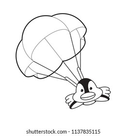 black outline isolated cute penguin jumping with parachute vector illustration