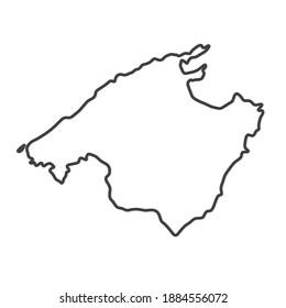 black outline of Majorca island map- vector illustration