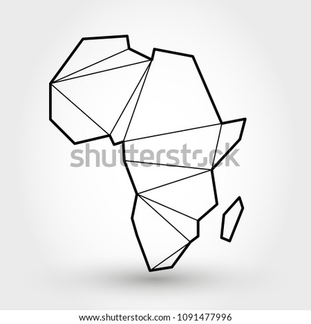 Black Outline Map Africa Stylized Concept Stock Vector (Royalty Free ...