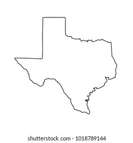 Black outline map state USA -Texas. Vector.