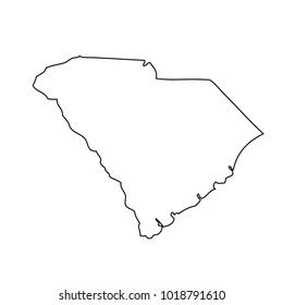 Black outline map state USA - South Carolina.  Vector.