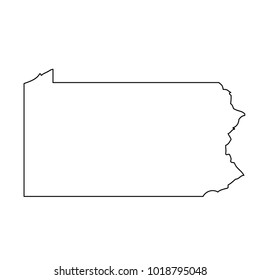 Black outline map state USA - Pennsylvania. Vector.