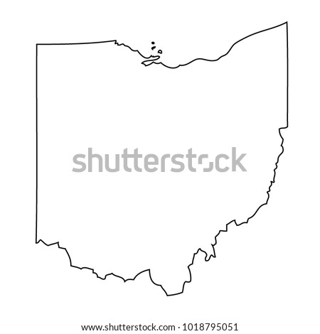 Black Outline Map State Usa Ohio Stock Vector Royalty Free