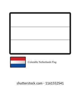 black outline Netherlands colorable flag vector drawing with color guide