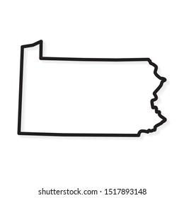 black outline of Pennsylvania map- vector illustration