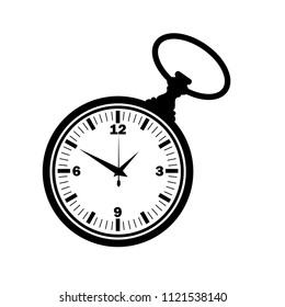 Black outline pocket watch with numbers isolated on white background
