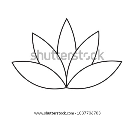 Black Outline Simple Lotus Water Lily Stock Vector Royalty Free