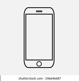 Black outline smartphone Icon Vector illustration EPS10,jpg iphon,jpeg,logo,iphone button background