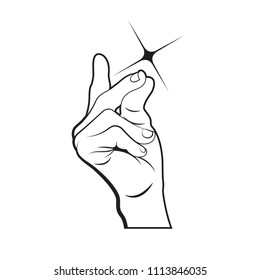 black outline snapping hand vector illustration