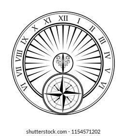Black outline sundial silhouette isolated on white background