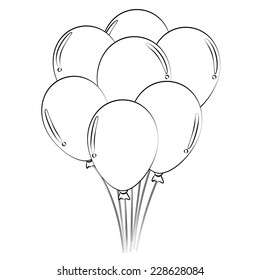 Black outline vector balloons on white background.