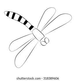 Black outline vector dragonfly on white background.