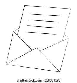 Black outline vector envelopes on white background.
