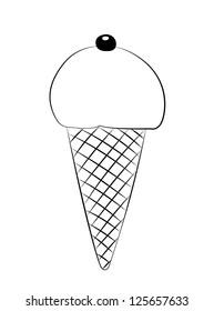 Black outline vector ice cream on white background.