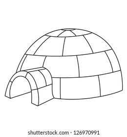 Black outline vector igloo on white background.
