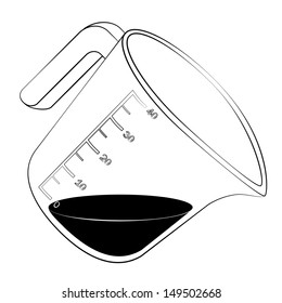 Black outline vector measuring cup on white background.
