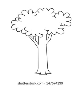 Black outline vector tree on white background.