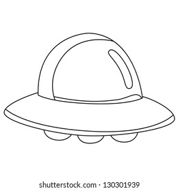 Black outline vector UFO on white background.