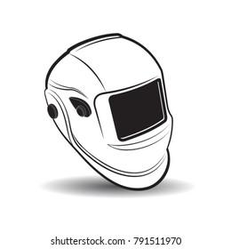 black outline welding head shield vector illustration