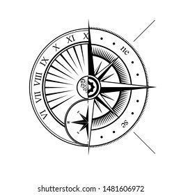Black outline windrose and sundial silhouettes isolated on white background