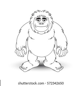 black outlined ape man standing-vector drawing