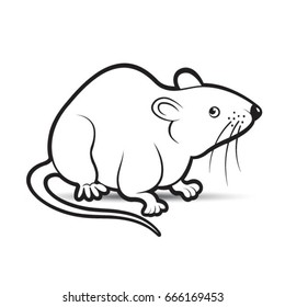 black outlined mouse looking alert-vector drawing