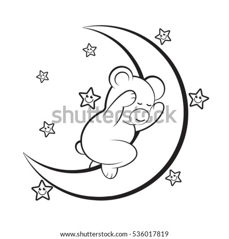 Black Outlined Sleeping Baby Bear On Stock Vector Royalty Free