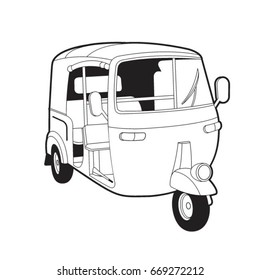 black outlined tuk tuk or three wheeler-vector drawing
