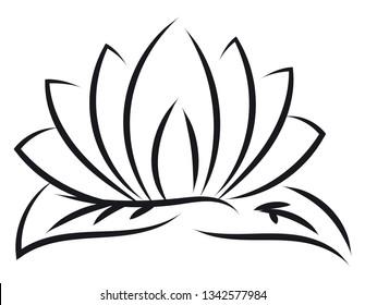 Black outlines of lotus vector illustration on white background