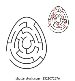 Black oval labyrinth. Game for kids. Puzzle for children. Holiday, egg, Easter. Maze conundrum. Flat vector illustration isolated on white background. With answer