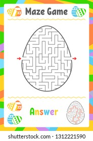 Black oval labyrinth. Kids worksheets. Activity page. Game puzzle for children. Egg, holiday, Easter. Maze conundrum. Vector illustration. With answer