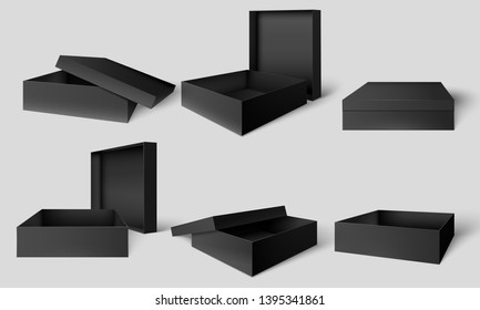 Black packaging box. Open and closed dark boxes, cardboard package mockup template vector illustration set