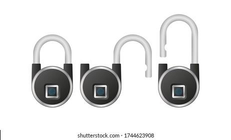 Black padlock with fingerprint sensor. A modern padlock is opened with a fingerprint. Isolated. Vector.