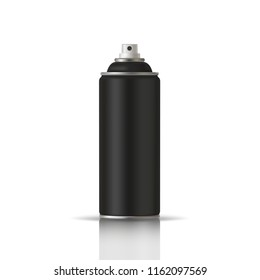 Black Paint Aerosol Spray Metal 3D Bottle Can, Graffiti, Deodorant, Household Chemicals, Poison. Front View. Illustration Isolated On White Background. Mock Up Template For Your Design. Vector EPS10