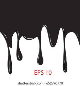 black paint dripping. abstract blob. Border, isolated on white background vector illustration