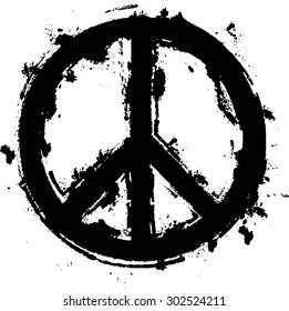 Black Paint Grunge Peace Symbol . Vector .