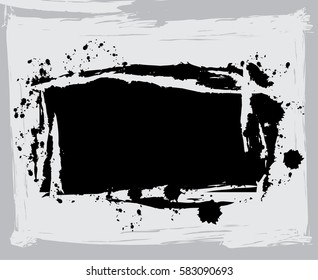black paint, ink brush strokes, brushes, lines. Dirty artistic design elements, boxes, frames, Computer designed highly detailed grunge frame with space for your text or image. Great grunge layer