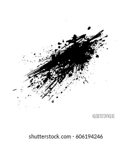 Black paint Ink splash, isolated on white background. Vector Splats. Blots and Splashes. Grunge Ink Stains
