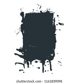Black paint, spilled black ink stain, brush stroke in vector grunge style. Dirty artistic design element, box, frame or background for text.