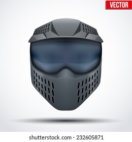 Black paintball mask with goggles. Original design. Vector Illustration isolated on white background.